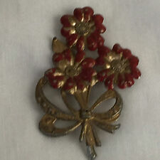 bouquet Gt brooch pin green gift Antique Victorian red cold enamel floral