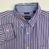 Chaps Button Up Shirt Mens XXL Purple Stripe Easy Care Long Sleeve Casual
