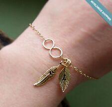 Gold Filled Leaf Charm Bracelet - Personalized Initials. Infinity Dainty Jewelry