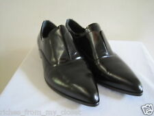PRADA Black Laceless Pointy Toe Oxfords Shoes Size 39.5/9.5, New w/o Box
