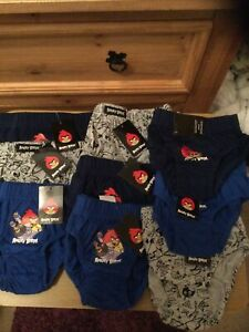 New With Tags 9 Pairs Boys Briefs Age 5-6 Yrs , 100% Cotton , Theme Angry Birds