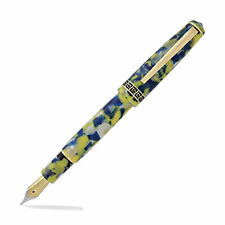 Laban Grecian Blue and Yellow Marbled Pen - Fountain - Medium Point
