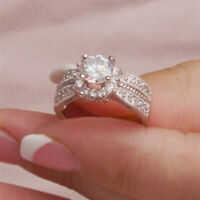 Solid 10k White Gold 2.50 Ct Diamond Round Cut Women's Engagement Wedding Ring
