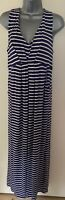 "Joules ""Laria"" Striped Jersey Sleeveless Maxi Dress With Pockets Size 12"