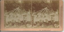 Stereo photo 1886 Que Felices Somos! children Maypole B W Kilburn Littleton N H