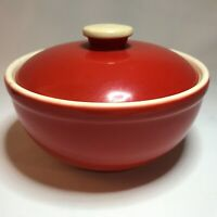 Vintage UNIVERSAL CAMBRIDGE Pottery Oven Proof RED LIDDED BOWL Made in USA