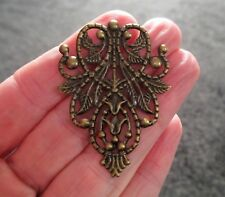 Pack of 5 Large Antique Bronze Filigree Embellishment Stamping 4.8cm x 3.5cm