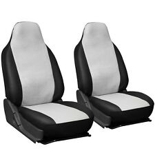 2pc PU Leather White Integrated High Back Bucket Car Seat Covers