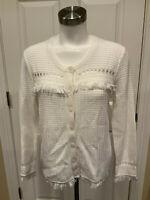 J. Crew Ivory Open Knit Fringe Trimmed Cardigan, Size Medium, NWT!