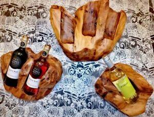 Handmade wooden Carved artistic christmas gift double bottle wine holder rack..