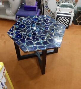 Agate Table Top, Agate Side Table, Stone Dining Table, Blue Agate Custom Table