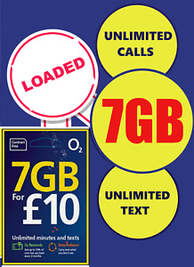 o2 sim card £10 7GB UNLIMITED  O2 PAY AS YOU GO SIMCARD WITH £10 PACKAGE 7GB