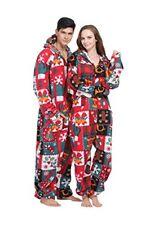 Party Pajama Women's & Men's Fleece Hooded One-Piece XMAS Christmas Pajamas Ugly