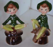 Vintage Salt And Pepper Elves Mushroom Shakers Enesco Ceramic