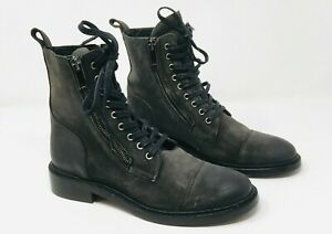 Thursday Boot Co 'Major' Gray Suede Cap Toe Double Zipped Boots Womens 8/8.5 NEW