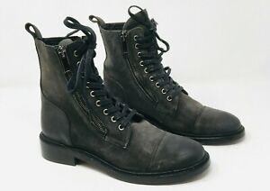 Thursday Boot Co 'Major' Gray Suede Cap Toe Double Zipped Boots Women's 8 /8.5