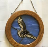 "BIRD OVER WATER Stained Art Glass Look Framed Suncatcher 14"" Round Vintage"