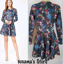NWT bebe FLORAL PRINT JACQUARD FIT N FLARE DRESS SIZE L. SEXY MSRP $183