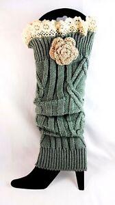 Leg Warmers Ladies Gray Ribbed Knit Lace Cuff Beige Crochet Flower