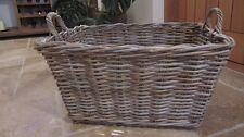 RUSTIC good quality large log basket rectangular with handles