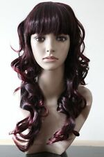 Fashion Cosplay Womens Brown Long Curly Natural Straight Wavy Full Head Hair Wig