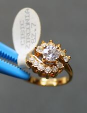 Vintage Thai Siam Princess Cubic Zirconia Ring - 14KT Gold Electroplate Deco