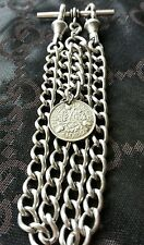 1932 GEORGE V THREEPENCE COIN FOB ANTIQUE SILVER STYLE DOUBLE POCKET WATCH CHAIN