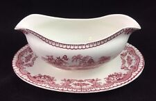 John Maddock & Sons England BOMBAY RED Gravy Boat w/ Attached Underplate, Smooth
