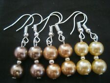 3 Pairs of Caramel Chocolate Lemon Pastel Colour GLASS PEARL Bead Earrings