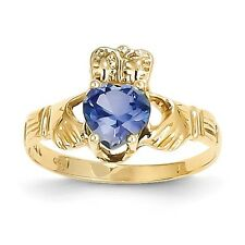 14k Solid Yellow Gold September Birthstone Claddagh Ring - SKU #124479