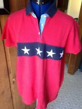 VTG Tommy Hilfiger Red White Blue Star Polo Shirt Bold Loud Patriotic ColorBlock