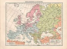 "1900 ""TIMES""  LARGE ANTIQUE MAP - RELIGIONS OF EUROPE"