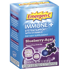 Emergen-C Immune+ System Support Fizzy Mix, Blueberry-Acai Flavored 10 ea