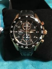 New Seiko Sportura Solar Chrono Mens Watch SSC274 Rose-Gold Calfskin Band
