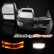 FOR 08-16 F250/F350/F450/F550 POWER/HEATED/LED SIGNAL BLACK/CHROME TOW MIRRORS