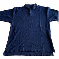 Pendleton Mens Short Sleeve 2 Button Navy Blue Polo Shirt Cotton Size Medium M
