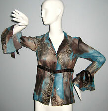SIMON CHANG Size 4 Blue~Brown Button-Down Bell Sleeves Blouse