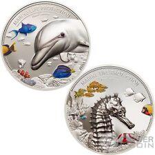 DOLPHIN AND SEA HORSE Marine Life Set 2x2 Oz Silver Coin 10$ Palau 2017