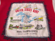 Vintage US NAVY Great Lakes Ill. Sweetheart Souvenir Pillow Case WWII