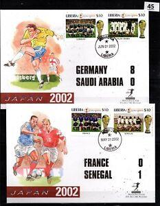 / LIBERIA 2002 - 2 FDC - SOCCER - FRANCE, GERMANY