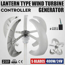 400W 24V White Lanterns Wind Turbine Generator Vertical Axis Nylon fiber 5 Blads