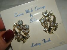 "Vintage Selco Gold Tone Metal Clear Rhinestones Screw back Earrings 1 1/4"" New"