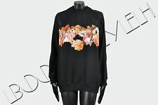 GIVENCHY 3150$ New Silk Black Sheer Panel Floral Print Sweatshirt sz 34