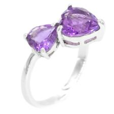 EARTH MINED 9MM AFRICAN AMETHYST HEART DESIGN STERLING SILVER 925 RING SIZE 8