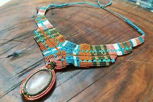 Huge Macrame Necklace Brass Pendant Jewelry Rose Quartz Cabochon Stone Handmade