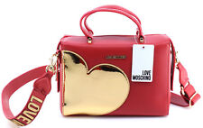 Borse Mano Spalla Donna LOVE MOSCHINO Borsa New Calf PU Rosso TPU Oro Gold Nuova