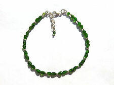 Chrom Diopsid fac.Armband 20-23 cm 925 Silber Chrome Diopside Bracelet Nr. 3680