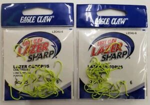 2-Eagle Claw Lazer Sharp Painted Octopus Hook Needle Point Chartreuse  25/packs