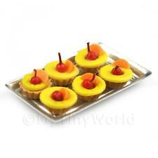 6 sciolto miniatura per casa delle bambole Ananas e Pesca tortine su un vassoio