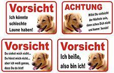 Schild Achtung Labrador Retriever GELB 15x20 bis 60x40cm Warnschild Türschild